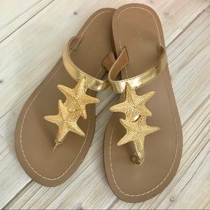 Size 7 Lilly Pulitzer Target Starfish Gold Sandals
